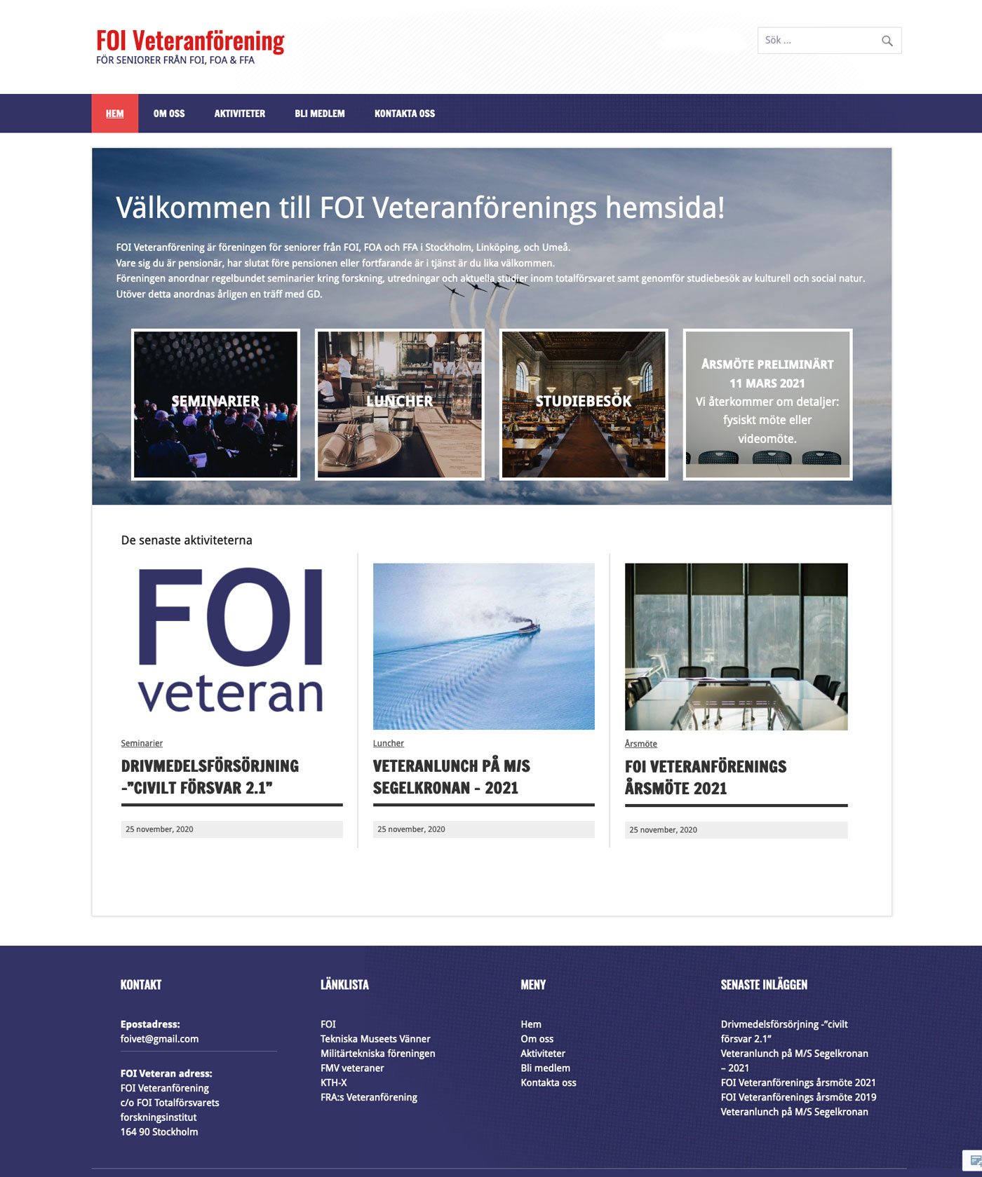 FOI veteraner Hemsida WordPress